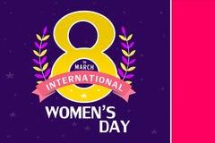 8 marzo modello della cartolina d'auguri, fondo internazionale o opuscolo di giorno del ` s delle donne Fotografie Stock Libere da Diritti