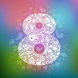 8 marzo oggetti bianchi su un fondo multicolore illustrazione di stock
