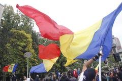 Marzo para la unión de Rumania con la República del Moldavia Fotos de archivo libres de regalías