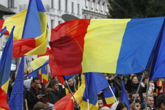 Marzo para la unión de Rumania con la República del Moldavia Fotos de archivo