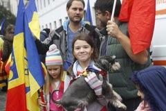 Marzo para la unión de Rumania con la República del Moldavia Imagen de archivo libre de regalías