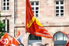 Marzo politico durante il giorno nazionale francese contro la La di Macrow Immagine Stock Libera da Diritti