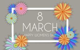 8 marzo progettazione moderna del fondo con i fiori Cartolina d'auguri alla moda delle donne di giorno felice del ` s con i fiori Fotografia Stock