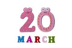 20 marzo su fondo, sui numeri e sulle lettere bianchi Fotografia Stock Libera da Diritti