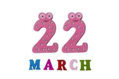 22 marzo su fondo, sui numeri e sulle lettere bianchi Fotografie Stock Libere da Diritti