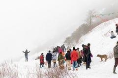 Marzo 2018 Tsomgo o changu Tashi Delek Lake, Sikkim orientale, India Marzo 2018 fotografia stock libera da diritti