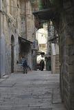 26 MARZO 2015 Vecchia via stretta a Gerusalemme l'israele Immagine Stock Libera da Diritti