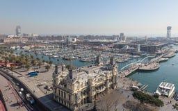 10 MARZO 2017 Vista di Barcellona dal monum di Christopher Columbus Fotografia Stock Libera da Diritti