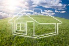 marzycielska śródpolna trawy domu ikona nad niebem Obraz Royalty Free
