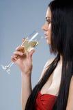 Marzycielska szampańska dziewczyna. obrazy royalty free