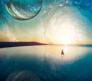 Marzycielski fantazja krajobraz samotny żaglówki żeglowanie przy zmierzchem blisko linii brzegowej Elementy ten wizerunek mebluj? ilustracja wektor