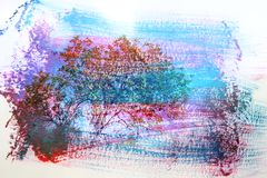marzycielski i abstrakcjonistyczny wizerunek lasowy dwoistego ujawnienia skutek z akwareli muśnięcia uderzenia teksturą royalty ilustracja