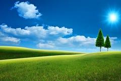 Marzycielski naturalny krajobraz z zielonymi wzgórzami fotografia stock