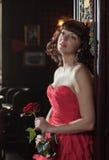 marzycielskiej czerwieni różana kobieta Obraz Royalty Free