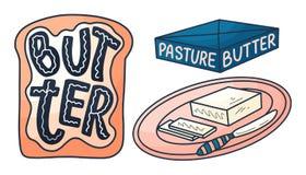 Masło w kreskówka stylu na tle Wektorowa doodle ilustracja Smakowity śniadaniowy diety jedzenie Paśnik, zdrowy odżywianie royalty ilustracja