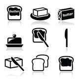 Masła lub margaryny wektorowe ikony ustawiać Obraz Royalty Free
