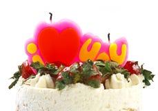 masło śmietanki tort z truskawką & świeczką Zdjęcia Stock