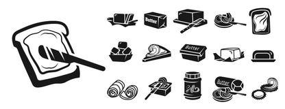 Masło ikony set, prosty styl ilustracja wektor