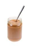 masło odizolowywająca słoju arachidu łyżka Obrazy Stock