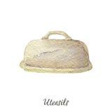 Masło właściciela akwareli ilustracja na białych Kuchennych naczynie seriach Zdjęcie Royalty Free