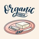 Masło w kreskówka stylu na tle Wektorowa doodle ilustracja Smakowitej śniadaniowej diety zdrowy jedzenie Paśnik i odżywianie royalty ilustracja