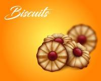 Masłowaci ciastka z czerwonym dżemem na jaskrawym pomarańcze i koloru żółtego tle Obrazy Royalty Free