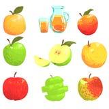 Maçãs e Apple Juice Cool Style Bright Illustrations Imagem de Stock
