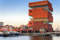 The MAS museum in Antwerp, Belgium. ANTWERP,BELGIUM - APRIL 11: The MAS museum on April 11, 2016 in Antwerp, Belgium. The museum collection tells the story of Royalty Free Stock Photos