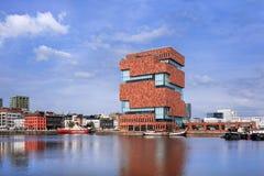 Mas Museum, iconische architectuur in het stadscentrum van Antwerpen, België Royalty-vrije Stock Afbeelding