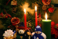 mas one snowman spirit stuffed teddy x Στοκ Φωτογραφίες