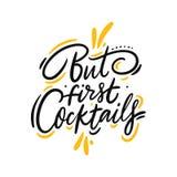 Mas os primeiros cocktail citam a rotula??o tirada m?o do vetor Isolado no fundo branco ilustração royalty free