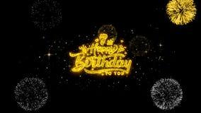 7mas partículas de oro del centelleo del texto del feliz cumpleaños con la exhibición de oro de los fuegos artificiales ilustración del vector