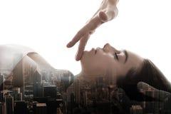 Masaż energia penetruje skóry multiexposition obraz royalty free