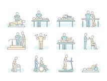 Masaż terapii zdroju fizjoterapii wektoru linii medyczne ikony Leczniczy symbole ilustracja wektor