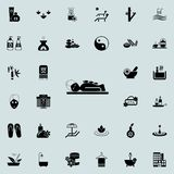 Masaż z powulkaniczną kamień ikoną Szczegółowy set zdrój ikony Premii ilości graficznego projekta znak Jeden inkasowe ikony dla Obrazy Royalty Free
