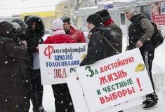Masa-reunión a las oposiciones en Saratov. Fotos de archivo libres de regalías