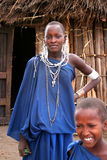 Masaai Beauty. A Masaai woman and a younger Masaai girl both traditionally dressed in their boma (village) in Manyara Lake area. Taken at, Babati district stock photos