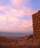 Masada堡垒和死海 库存照片