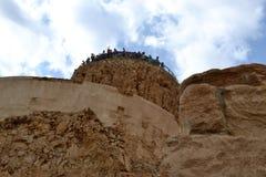 Masada - старое городище, крепость пустыни Herod в пустыне Judean, взгляде мертвого моря, Израиля стоковые изображения rf