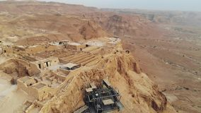 Masada - Aerial footage of the ancient fortification in the Southern District of Israel. Moving forward. Flying around stock video