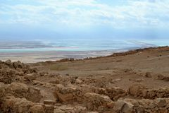 Masada - ancient fortification, desert fortress of Herod in Judean desert, view of dead sea, Israel stock photos