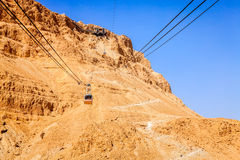 Masada cable car. Cable car to the Masada fortress in Judaean Desert in Israel Stock Photo