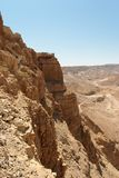 Masada cliff and surrounding desert. Near the Dead Sea in Israel Stock Photography