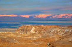 Masada and the Dead Sea, Israel. The famous Masada fortress with the Dead Sea and Jordan Red Mountains in the background, Israel