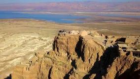 masada Den forntida bef?stningen i det sydliga omr?det av Israel Masada nationalpark i regionen f?r d?tt hav av Israel royaltyfria foton