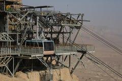 Masada, el cable del coche fotografía de archivo