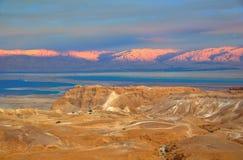 Masada en het Dode Overzees, Israël Stock Foto's