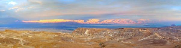 Masada et la mer morte, Israël image stock