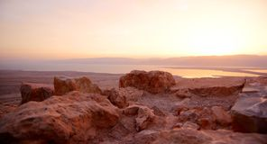 Masada et mer morte images libres de droits