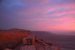 Masada fortress. And Dead sea sunrise in Israel judean desert tourism stock photography